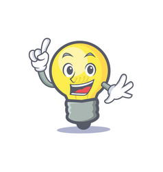 finger light bulb character cartoon vector image