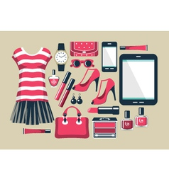 Fashion set in a style flat design vector