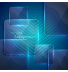 Abstract blue background with transparent glass vector