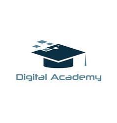 Graduation cap of digital academy design template vector