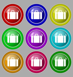 Suitcase icon sign symbol on nine round colourful vector