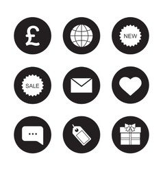 Web store black icons set vector