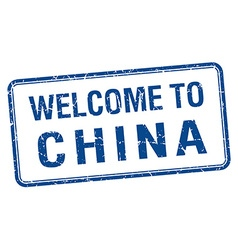 Welcome to china blue grunge square stamp vector
