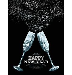 Happy new year toast glass low polygon silver vector
