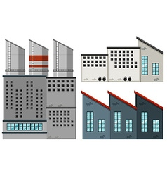 Factory buildings in different designs vector