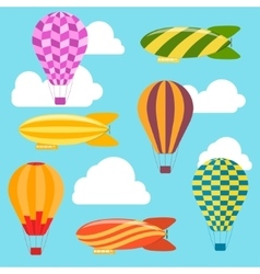 Air balloons and airships background vector