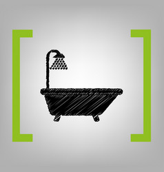 Bathtub sign black scribble icon in vector