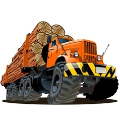 cartoon logging truck vector image