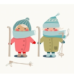Children in winter cloth and skies vector