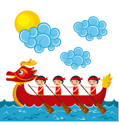 Chinese people paddling red dragon boat vector