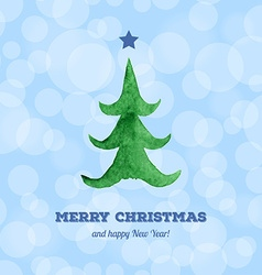 Christmas card with watercolor Christmas tree vector image vector image