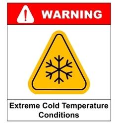 Cold warning sign snow warning - triangular sign vector image