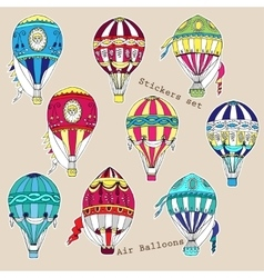 Colored air balloons stickers set vector image