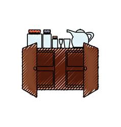 Cupboard and crockery vector