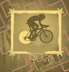 cyclist vintage frame vector image