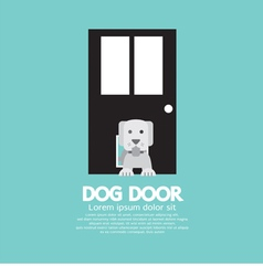 Dog passing through the door for dog vector