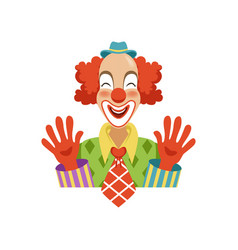 funny circus clown in traditional makeup showing vector image vector image