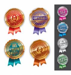 Gold and silver quality seals vector