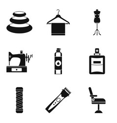 Hairdressers parlor icons set simple style vector