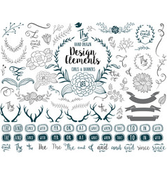 Hand drawn elements vector image vector image