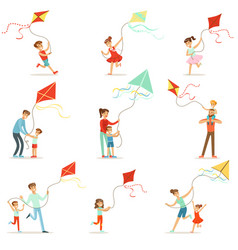 happy kids running with kite parents help vector image vector image