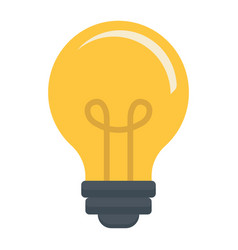 Light bulb flat icon lamp and idea light vector