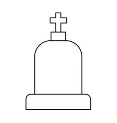 Line tombstone with cross and religion funeral vector