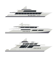 Motor Yacht Set Flat Design Style vector image vector image