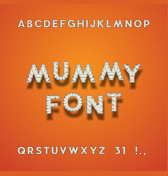 mummy bandage font halloween typeface vector image vector image