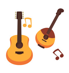 Musical instruments guitars or banjo and music vector