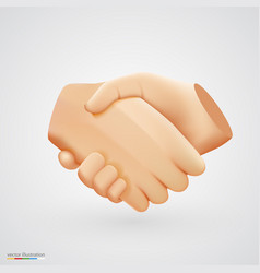 realistic handshake sign on white background vector image