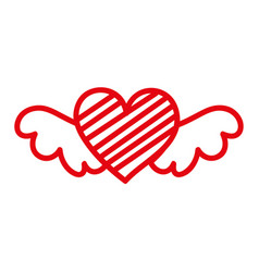 Red romantic winged heart with stripes symbolising vector