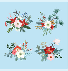 set of christmas bouquets made of fir pine and vector image vector image