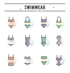 set of swimwear icons in thin line style vector image