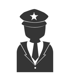 Silhouette man police vigilant isolated vector