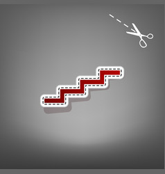 Stair up sign red icon with for applique vector