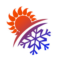 Sun and snowflake vector