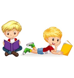 Two boys reading book vector