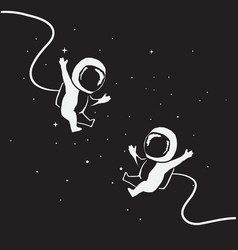 two funny little astronauts fly together vector image vector image