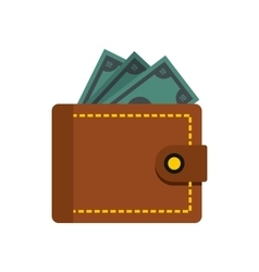 Wallet with dollars icon flat style vector image