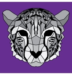 Gray low poly lined cheetah vector