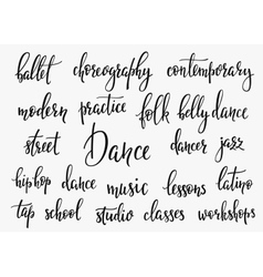 Dance studio lettering set vector