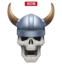 Human skull with viking helmet vector