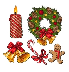 Set of traditional christmas decoration objects vector