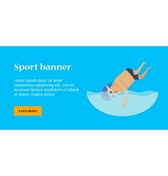 Swimming man sports banner vector