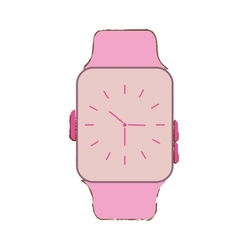 Pink classic analog watch wearable technology vector