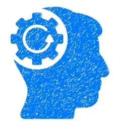Intellect gear rotation grainy texture icon vector