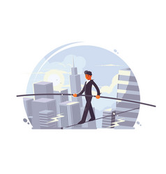 tightrope walker going on rope vector image