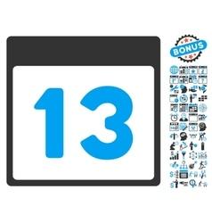 13th calendar day flat icon with bonus vector