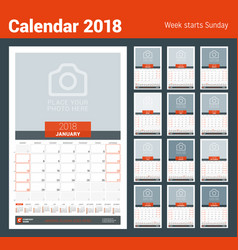 Monthly calendar planner for 2018 year design vector